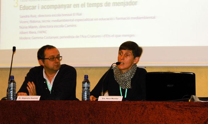 <b>Nani Moré</b>, impulsora de <i>Menjadors Ecològics</i> y <b>Antonio Martínez</b>, del Ayuntamiento de Mollet. ©Rest_colectiva.