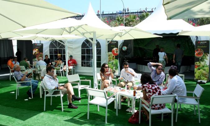 Las <i>Suites vip</i> se encuentran en la tribuna principal y son espacios principalmente adquiridos por empresas que invitan a sus clientes al evento. ©Aramark