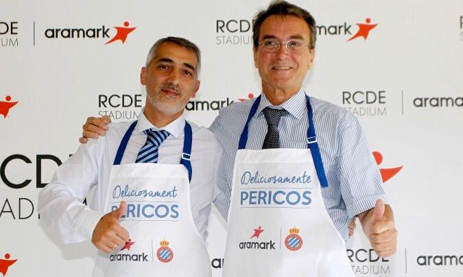Ramon Robert, consejero delegado del RCD Espanyol (izquierda en la foto) junto a Pablo Alcalá, director general de Aramark (derecha).