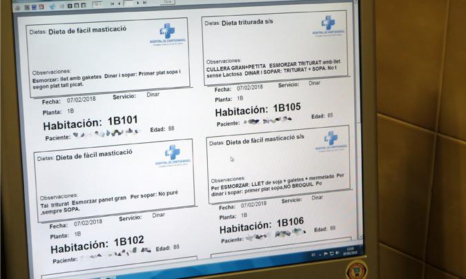 El hospital ha incorporado el sistema de Boris 45 para la gestión de menús. ©Rest_colectiva.