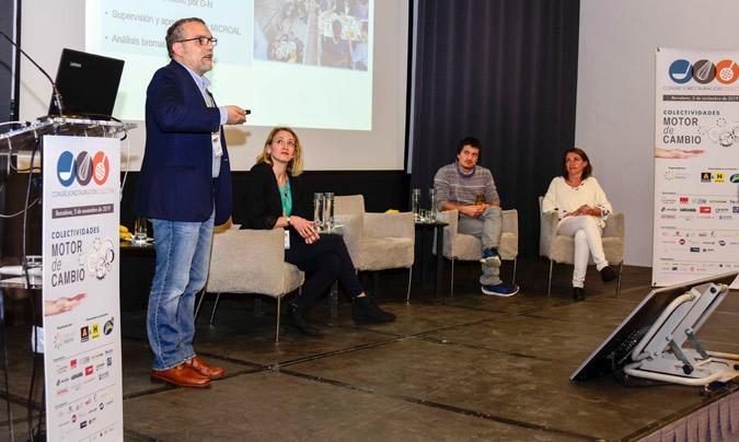 Sostenibilidad en el sector 'educa'. De izquierda a derecha: José M. Capitán (Ayuntamiento de Sevilla / Codinan), Isabel Coderch (Te lo sirvo verde -moderadora-), Felipe Celis (Campus CETT - UB) y Margarita Hernández (programa 'Ecocomedores').