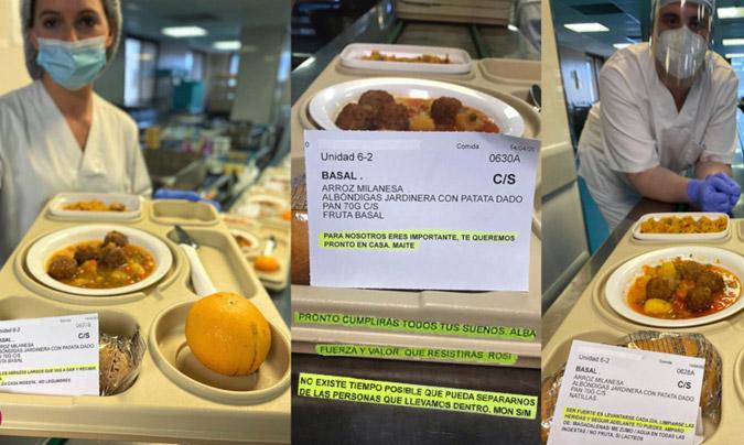 El equipo Ausolan de Valencia incluye mensajes de ánimo en los menús diarios de los hospitales