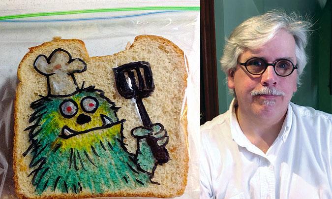 El estadounidense <b>David Laferriere</b>, y una de sus creaciones.