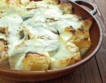 Para el menú escolar: 'Bacalao al horno con patatas y crema de queso La Vaca que ríe'